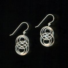 Interlocking Circle Earrings Sterling Silver Chainmaille Links Hammered Metalwork Dangles