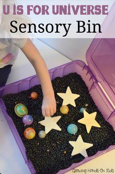 U is for Universe Sensory Bin, part of an Alphabet Sensory Activities blog hop.