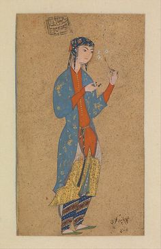 Blue, orange, yellow, light floral and diagonal stripe geometric. Portrait of a Lady Holding a Flower - This charming portrait of a young woman holding daisies is by the well-known sixteenth-century Persian painter Muhammadi of Herat. It exhibi. Oriental, Art Costume, Asia, Iranian Art, Classic Image, Arabian Nights, Museum Of Fine Arts, Islamic Art, Metropolitan Museum
