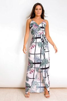 1a8a1d3b5d2 Elvire Pink Tropical Print Wrap Maxi Dress. Virgo Boutique Fashion