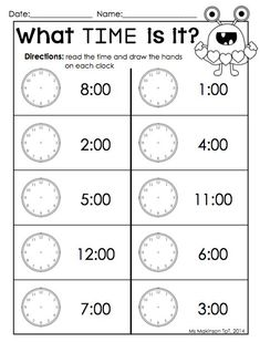 This was a nice complement for the younger brother (pre-k) so he didn't feel left out. February Printable Packet - Kindergarten Literacy and Math. Telling time by the hour Valentine's Day worksheet. Clock Worksheets, Kindergarten Math Worksheets, Homeschool Kindergarten, School Worksheets, Worksheets For Kids, Teaching Math, Homeschooling, Matching Worksheets, Preschool