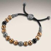 John Hardy Palu Silver & Bronze Bead Bracelet with Black Tourmaline