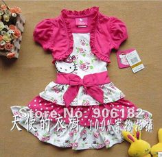1PC Hello Kitty Dress girls dress pink dress baby dress kids clothes children wear baby clothing  2T-5T on AliExpress.com. 5% off $15.20