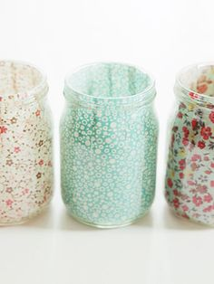 Line the inside of a mason jar with scraps of fabric to create a floral votive #masonjars