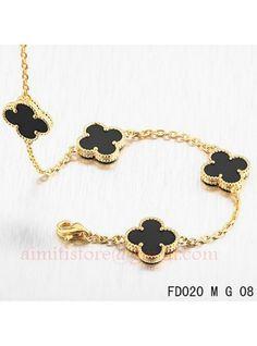 Van Cleef Arpels Vintage Alhambra 10 Black Onyx Motifs Necklace Yellow Gold