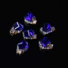 10Pcs 3D Golden Plated Sapphire Crystal DIY Nail Art Tips For Nails ,Cellphone