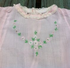 vintage baby clothes embroidered pink by ThreeBluesVintage on Etsy, $8.00