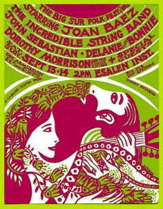 Big Sur Folk Festival concert poster late 1960's. I was there.