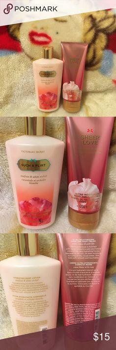 New VS Bundle of 2 Hand and Body Lotion Victoria's Secret 8.4 fl oz Such a Flirt Starfruit & White Orchid Hydrating Body Lotion...............        Victoria's Secret 6.7 fl oz Sheer Love White Cotton @ Pink Lily Ultra-Moisturizing Hand & Body Cream Victoria's Secret Other