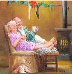 Growing old together Vieux Couples, Old Couples, Art Wall Kids, Art For Kids, Wall Art, Growing Old Together, Old Folks, The Golden Years, Norman Rockwell