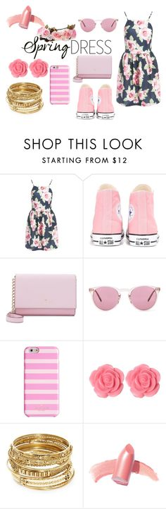 """Spring Dress"" by girlwithglitter ❤ liked on Polyvore featuring Sans Souci, Converse, Kate Spade, Oliver Peoples, Dollydagger, ABS by Allen Schwartz and Elizabeth Arden"
