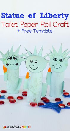 Statue of Liberty Toilet Paper Roll Craft and Free Template: Kids can make a cardboard tube Lady Liberty to celebrate The of July and learn about American History (Independence Day, free printable, kids craft) Patriotic Symbols, Patriotic Crafts, July Crafts, Summer Crafts, Cardboard Tube Crafts, Paper Towel Crafts, Cardboard Playhouse, Cardboard Toys, Toilet Roll Craft