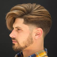 Taper Fade with Asymmetric Volume The height is perfectly balanced within this smart combover. The tapered edges and neat line up speak classic masculinity. The beard adds another rugged component. Trendy Mens Hairstyles, Cool Mens Haircuts, Popular Haircuts, Men's Hairstyles, Wedding Hairstyles, Short Haircuts, American Hairstyles, Hairstyle Men, Everyday Hairstyles