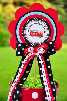 Deluxe Firetruck Centerpiece Birthday by thepaperkingdom on Etsy, $13.00