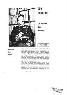 Cahier Jeune Presse : Guy Huygens, le peintre des Indiens par Claude Castiaux (Janvier 1963)