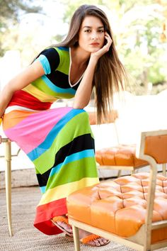 Bright stripes....maxi dress