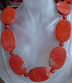 Rusty Color Agate with Round Carnelian Beads Necklace  by camexinc, $50.00