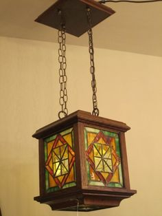 ca 1900 Arts & Crafts stained glass hanging light