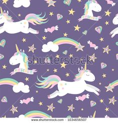 Vector Seamless Pattern With Mugical Unicorns Design For Wallpaper Phone Case Poster