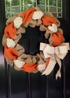 Orange White and Natural Chevron Burlap by SimplyBlessedGift