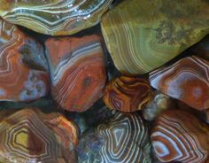 Lake Superior agates were formed during the lake's volcanic past, but glaciers later scattered them across the countryside. The agates above were found many miles from Superior.
