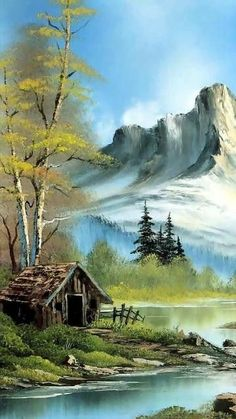 nice lake mobile phone wallpapers - Best of Wallpapers for Andriod and ios Bob Ross Paintings, Scenery Paintings, Watercolor Landscape Paintings, Ink Painting, Landscape Sketch, Landscape Art, Beautiful Paintings, Beautiful Landscapes, Bob Ross Art