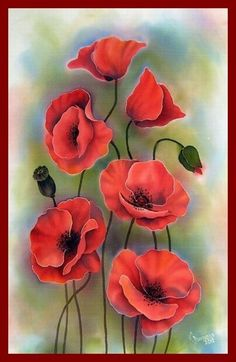 beautiful watercolor painting of red poppies by - Blumen Watercolor Flowers, Watercolor Paintings, Red Poppies, Poppy Flowers, Poppies Art, Yellow Roses, Purple Flowers, Pink Roses, Silk Painting