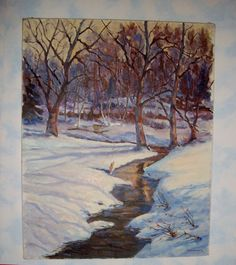 Vintage Oil Painting Original 16 x 20 Signed Canvas Wall Hanging Golden Creek