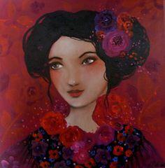 Portrait feminin Rendez-vous Bohème,toile romantique et poétique Loetitia Pillault : Peintures par pivoine