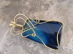 Wire-Wrapped Pendant Blue Onyx Agate & Gold Filled Wire