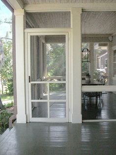 screen door and screen porch floors.I would love to have a screened porch! I can still hear the screen door closing - so summer! Home Porch, House With Porch, Grandma's House, Screened Porch Doors, Front Porch, Screen For Porch, Screen Porch Systems, Small Screened Porch, Porch Entrance