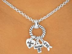 Amor, Verdad, Fe -  Spanish Necklace and Earrings of Faith Hope and Love!