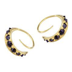Hannah Martin London Sapphire Studded Gold Twist Hoop Earrings  | See more rare vintage More Earrings at https://www.1stdibs.com/jewelry/earrings/more-earrings