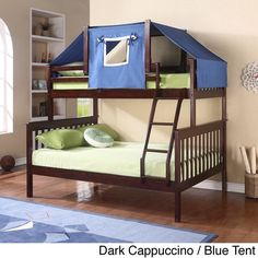 This pine-made bunk bed comes with a tent kit to spark your child's adventurous imagination. Both beds have complete slat mattress support, all that is needed is mattresses. The fixed ladder is included with this bunk bed.