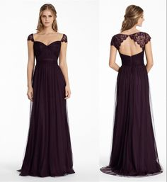 Plum Bridesmaid Dresses Long Soft Tulle Bridemaid Dresses A Line Sweetheart Keyhole Back Floor Length Formal Dresses With Lace Cap Sleeve