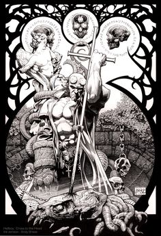 Hellboy: Cross to the Head: Ink Version: all traditional ink line art:  Andy Brase: https://www.facebook.com/AndyBraseArt