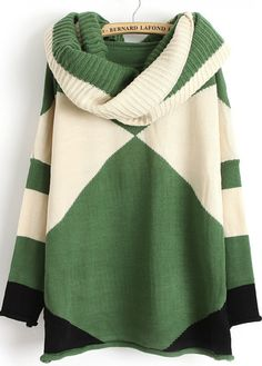 Green Contrast White Long Sleeve Scarve Geometric Sweater - abaday.com