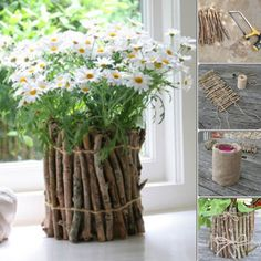 Flowers are a very beautiful decoration of any home, it gives him life and warmth. Thin wooden sticks here are creatively used for coating ordinary and boring pots. Simple Flowers, Diy Flowers, Colorful Flowers, Flower Decorations, Beautiful Flowers, Flower Ideas, Decorated Flower Pots, Painted Clay Pots, Flower Pot Crafts