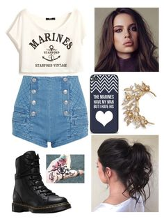 """marine's girl"" by angelofadorability on Polyvore featuring Pierre Balmain, Dr. Martens, Samsung and Marchesa"