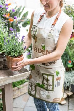 Canvas Apron with Leather Strap for Florists or Garden Lovers.
