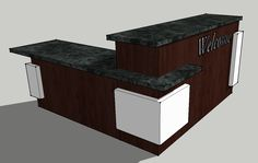 """$5000 Another brand new church welcome center furniture design I just finished up. This corner church welcome desk is 7′ x 7′ with a 30″ high counter on one side (with leg room) and a 42″ counter height on the other. """"Welcome"""" text can say what ever you want or be eliminated. As always laminate colors can be changed to match your interior.  #churchwelcomecenterfurniture"""