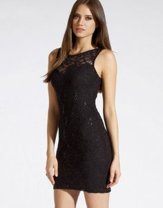 Lipsy Sequin Lace Bodycon Dress