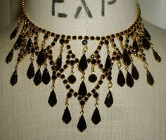 Gold Tone Runway Style Vintage Drippy Jet Black Rhinestone Chandelier Necklace