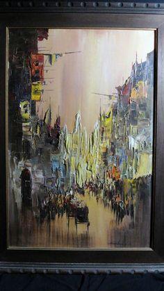 Signed Original Enrico Zablan Oil Painting European Boulevard Horse Carriages | eBay