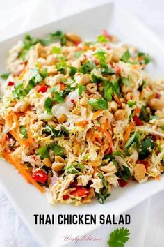 You are going to fall in love with this deliciously healthy Thai Chicken Salad! This crunchy chopped salad is perfect for meal prep and leftovers are great in wraps or on a sandwich. salads Thai Chicken Salad with Ginger Lime Dressing Thai Chicken Salad, Chicken Salad Recipes, Healthy Salad With Chicken, Cold Chicken Recipes, Thai Chicken Wraps, Napa Cabbage Recipes, Napa Cabbage Salad, Asian Quinoa Salad, Chicken To Go