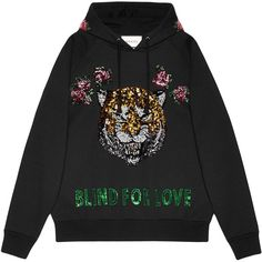 Gucci Embroidered hooded sweatshirt (23.007.435 IDR) ❤ liked on Polyvore featuring tops, hoodies, black, gucci top, embroidered top, embroidery top, sequin hoodies and gucci