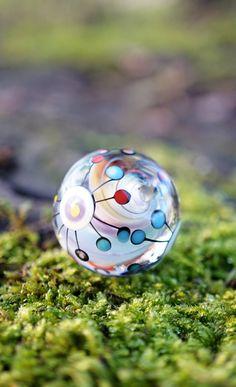 Hand blown glass bead by Melanie Moertel | Soft rainbow colors (each bead is a one of a kind) | See eShop www.melaniemoertel.etsy.com