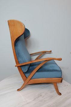 Blaues Zweisitzer-Sofa im Design der 50er Jahre // blue two-seater ...