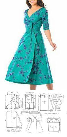 Fashion Sewing, Diy Fashion, Ideias Fashion, Fashion Dresses, Dress Sewing Patterns, Clothing Patterns, New Dress Pattern, Sewing Clothes, Diy Clothes
