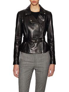 awesome Burliny Leather Belted Motorcycle Jacket